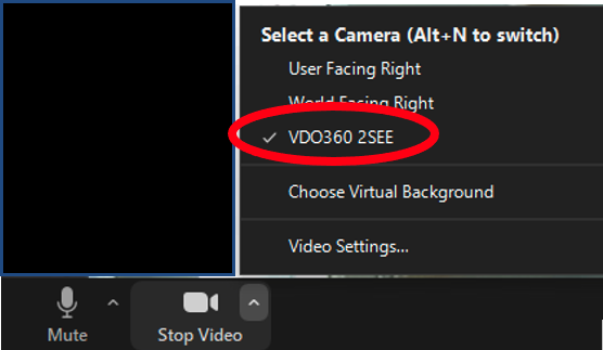 Image showing a screenshot of the Video menu in Zoom with the VDO360 2SEE option selected