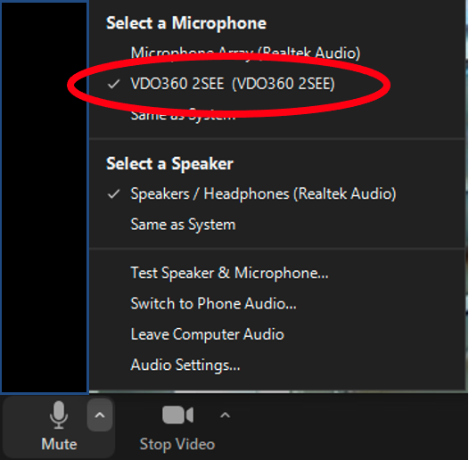Image showing a screenshot of the Audio menu in Zoom with the VDO360 2SEE option selected