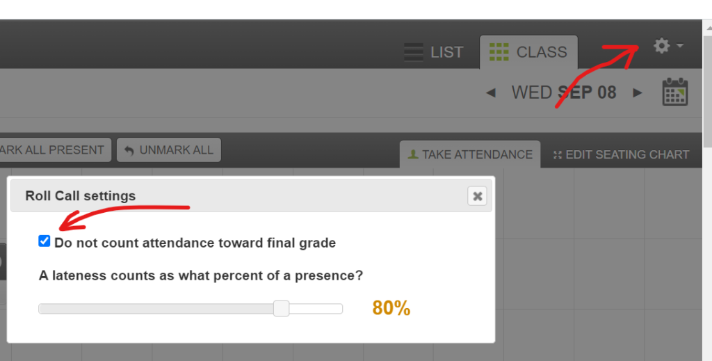 """screenshot of the attendance screen in Canvas with """"Do not count attendance toward final grade"""" checked"""
